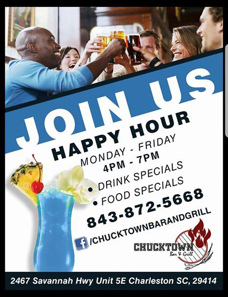 Chucktown Bar & Grill happy hour flyer